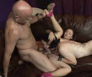 lapping up pussy while it is being fucked